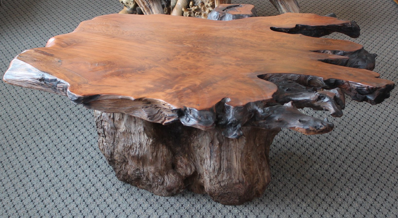Coffee Table With Redwood Base 51 X 45